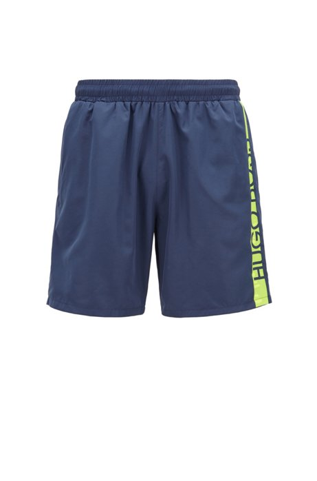 Medium-length swim shorts with heat-sealed logo print, Dark Blue