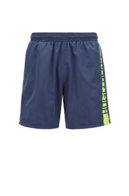 Medium-length swim shorts with heat-sealed logo print, Dark Blue