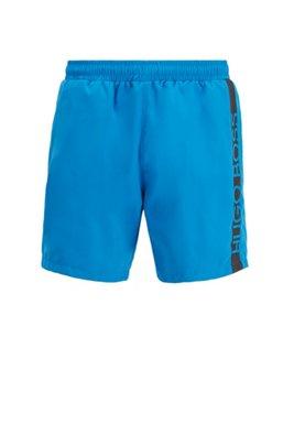 Medium-length swim shorts with heat-sealed logo print, Blue