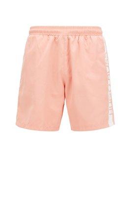 Medium-length swim shorts with heat-sealed logo print, Light Red