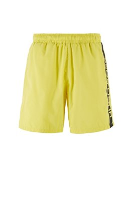 Medium-length swim shorts with heat-sealed logo print, Light Yellow