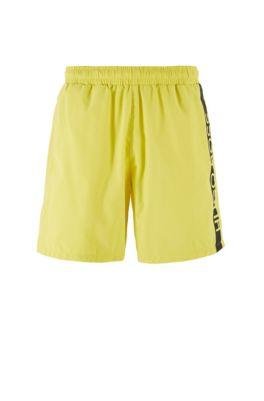 Medium-length swim shorts with heat-sealed logo print, Light Yellow