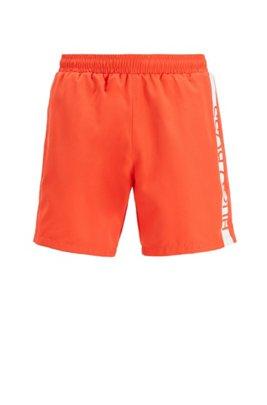 Medium-length swim shorts with heat-sealed logo print, Orange