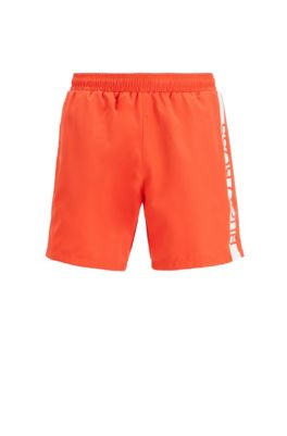 Medium-length swim shorts with heat-sealed logo print, Orange