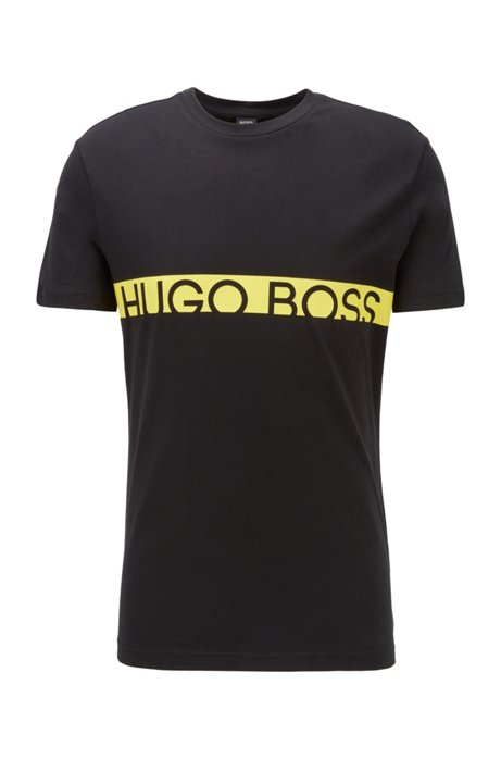 Slim-fit logo T-shirt with UPF50+ finishing, Black