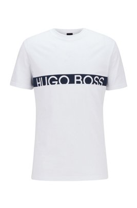 Slim-fit logo T-shirt with UPF50+ finishing, White