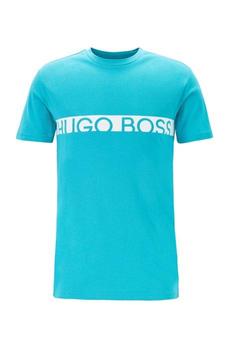 Slim-fit logo T-shirt with UPF50+ finishing, Turquoise