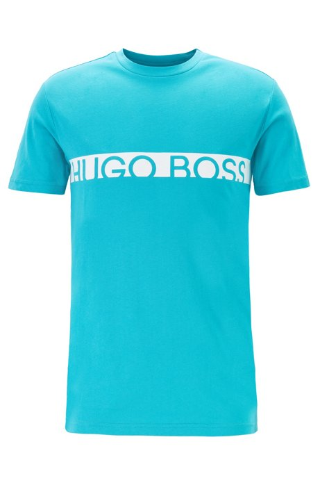 Slim-fit logo T-shirt with UPF50+ finishing, Turquoise