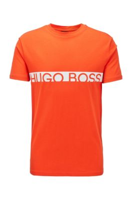 Slim-fit logo T-shirt with UPF50+ finishing, Orange
