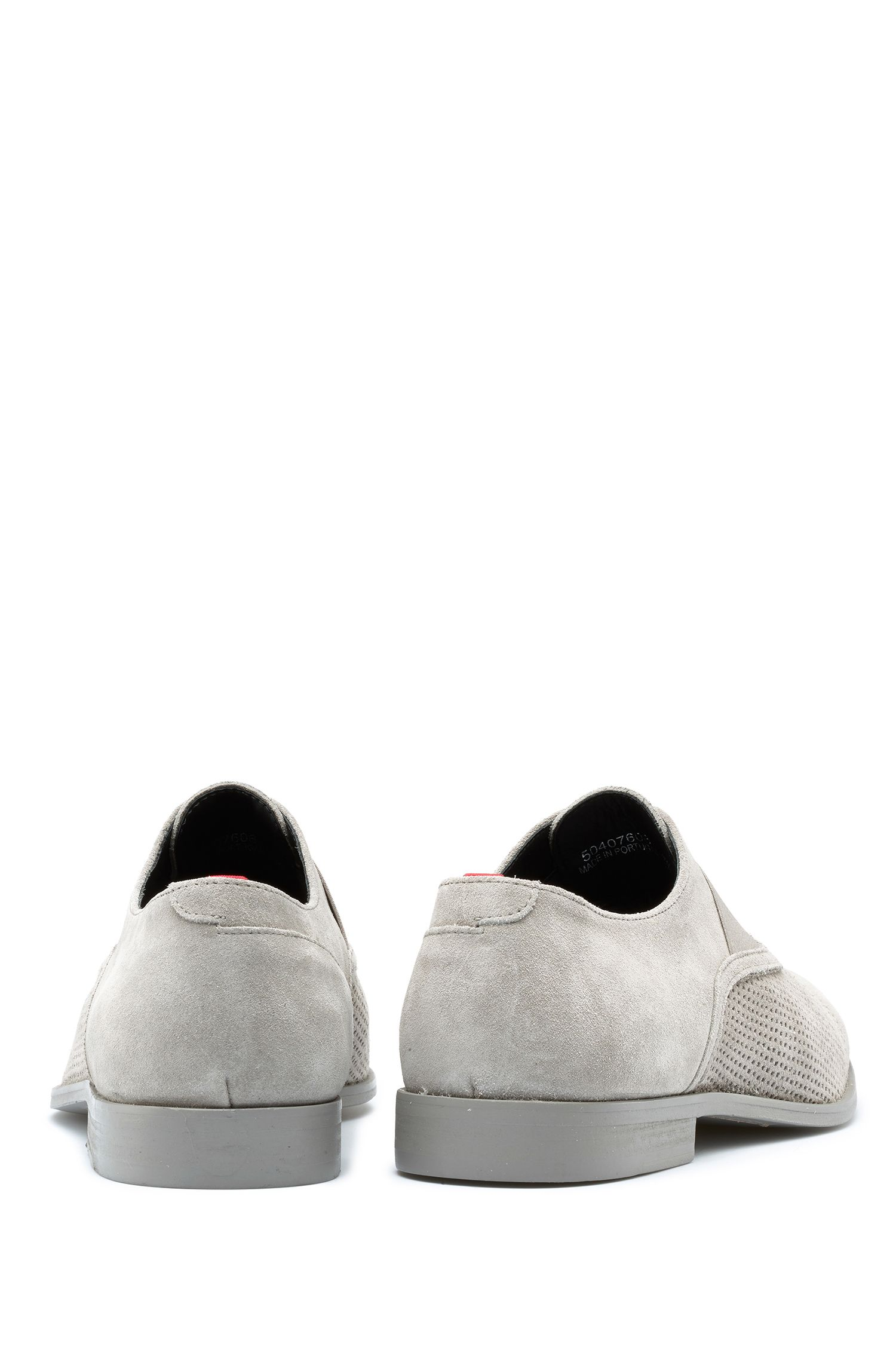 Slip-on Oxford shoes in suede with perforated details, Light Grey