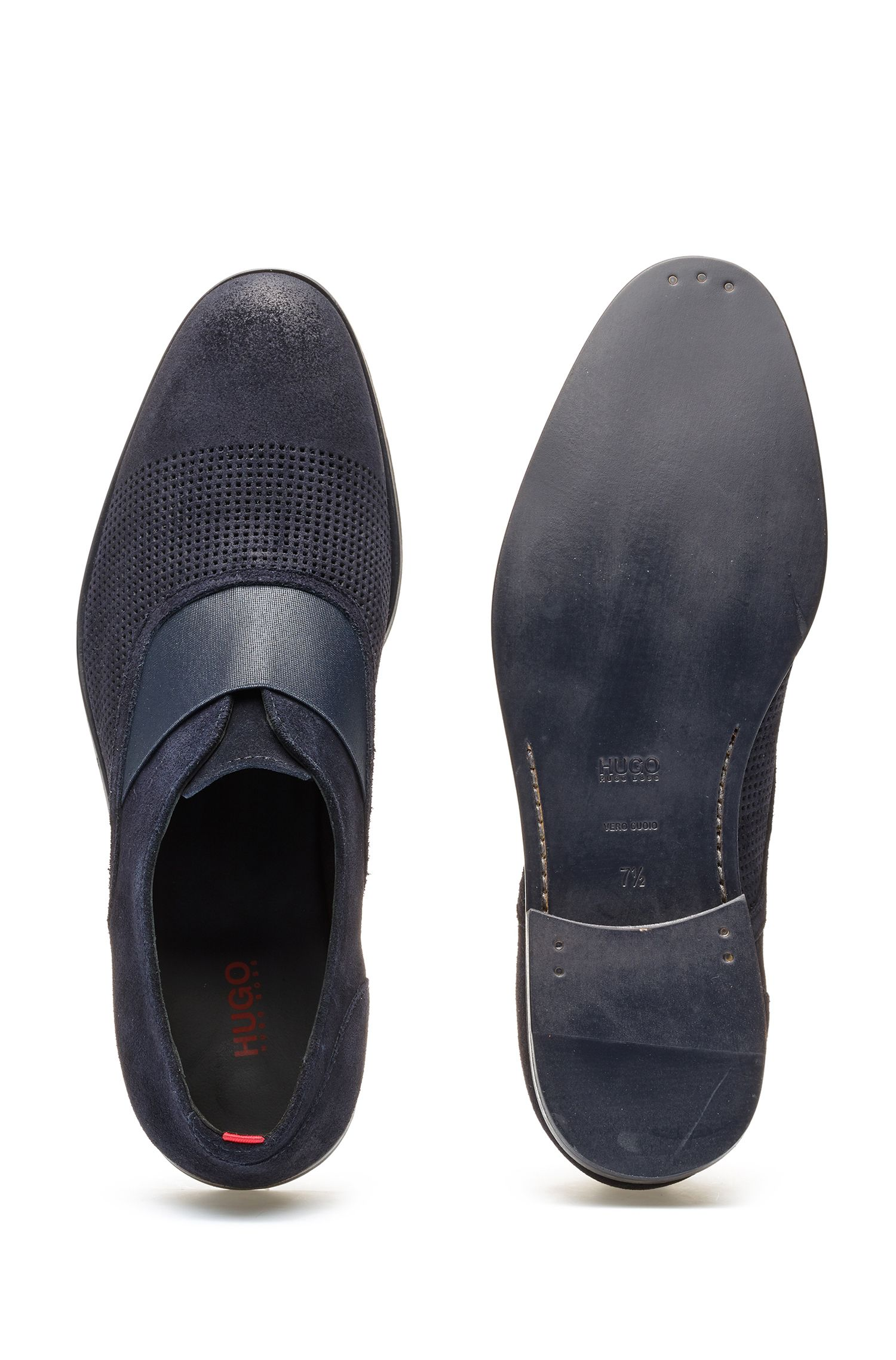 Slip-on Oxford shoes in suede with perforated details, Dark Blue