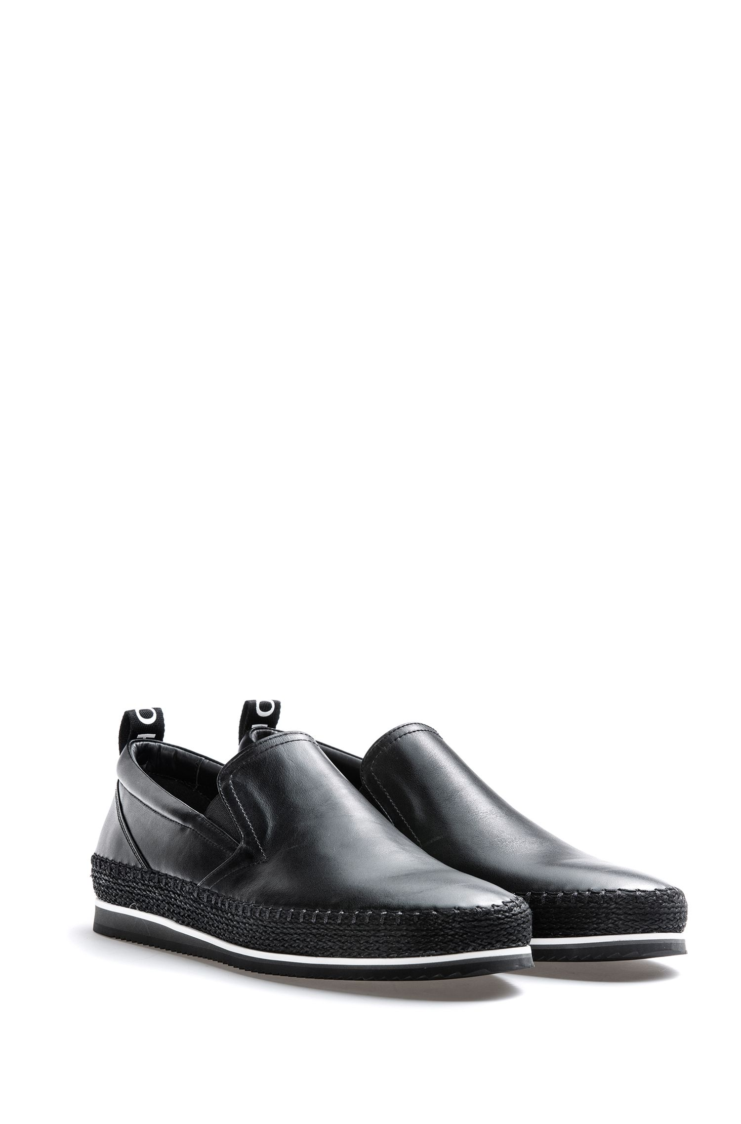 Slip-on shoes in calf leather with logo tape, Black