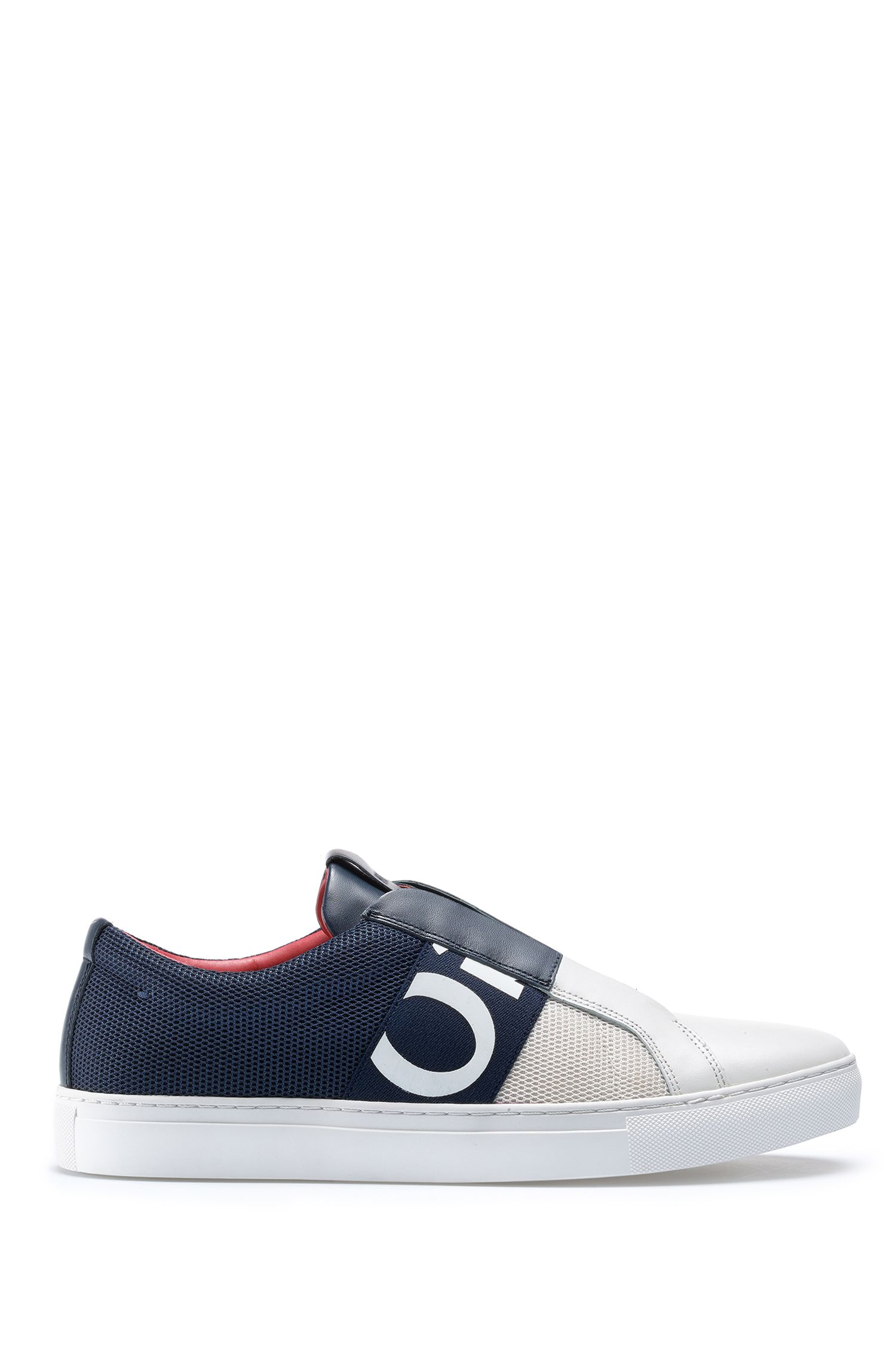 Slip-on sneakers in mesh and leather with logo elastic, Open Blue
