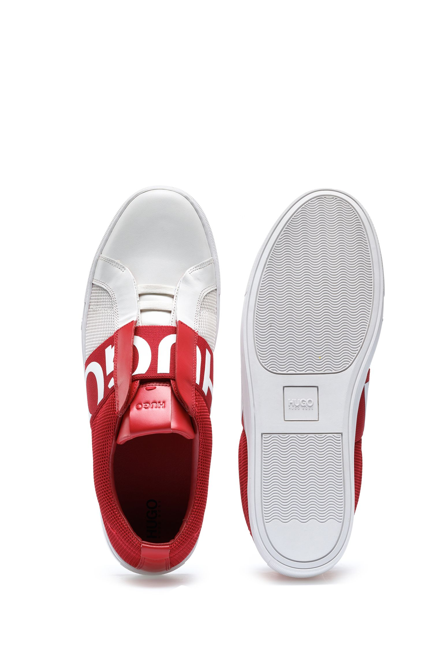 Slip-on sneakers in mesh and leather with logo elastic, Open Red