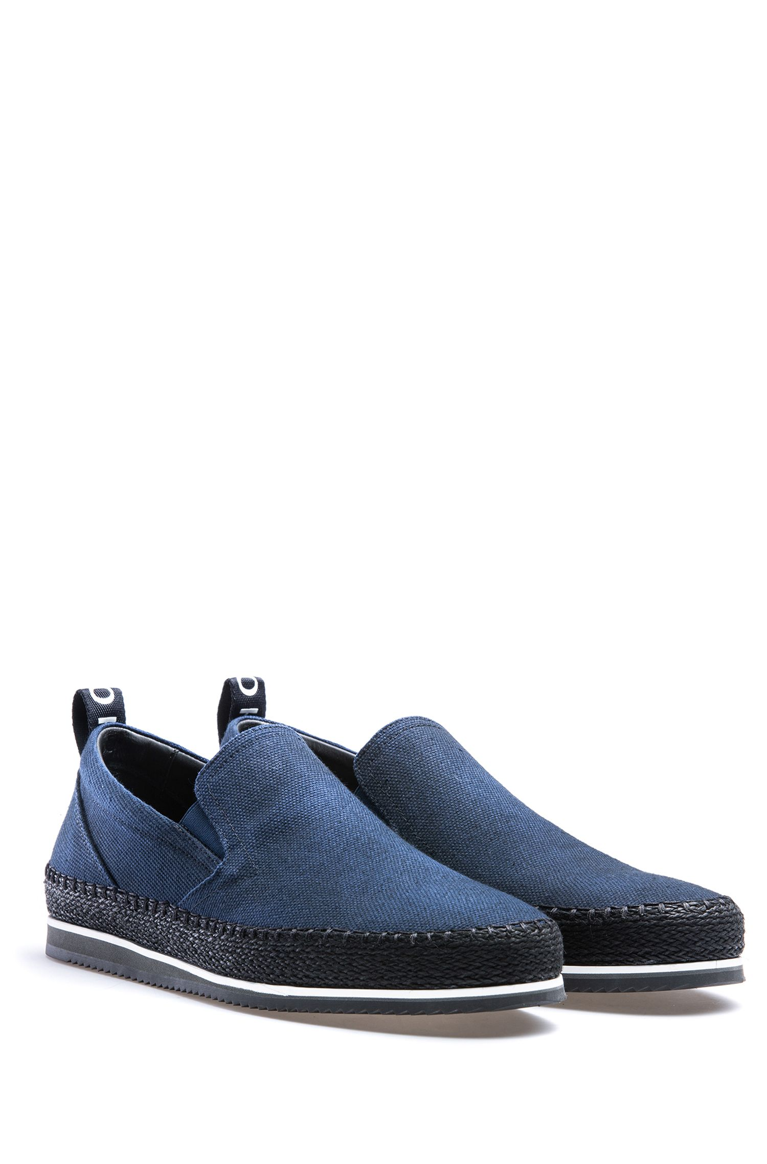 Slip-on shoes in cotton canvas with logo tape, Dark Blue
