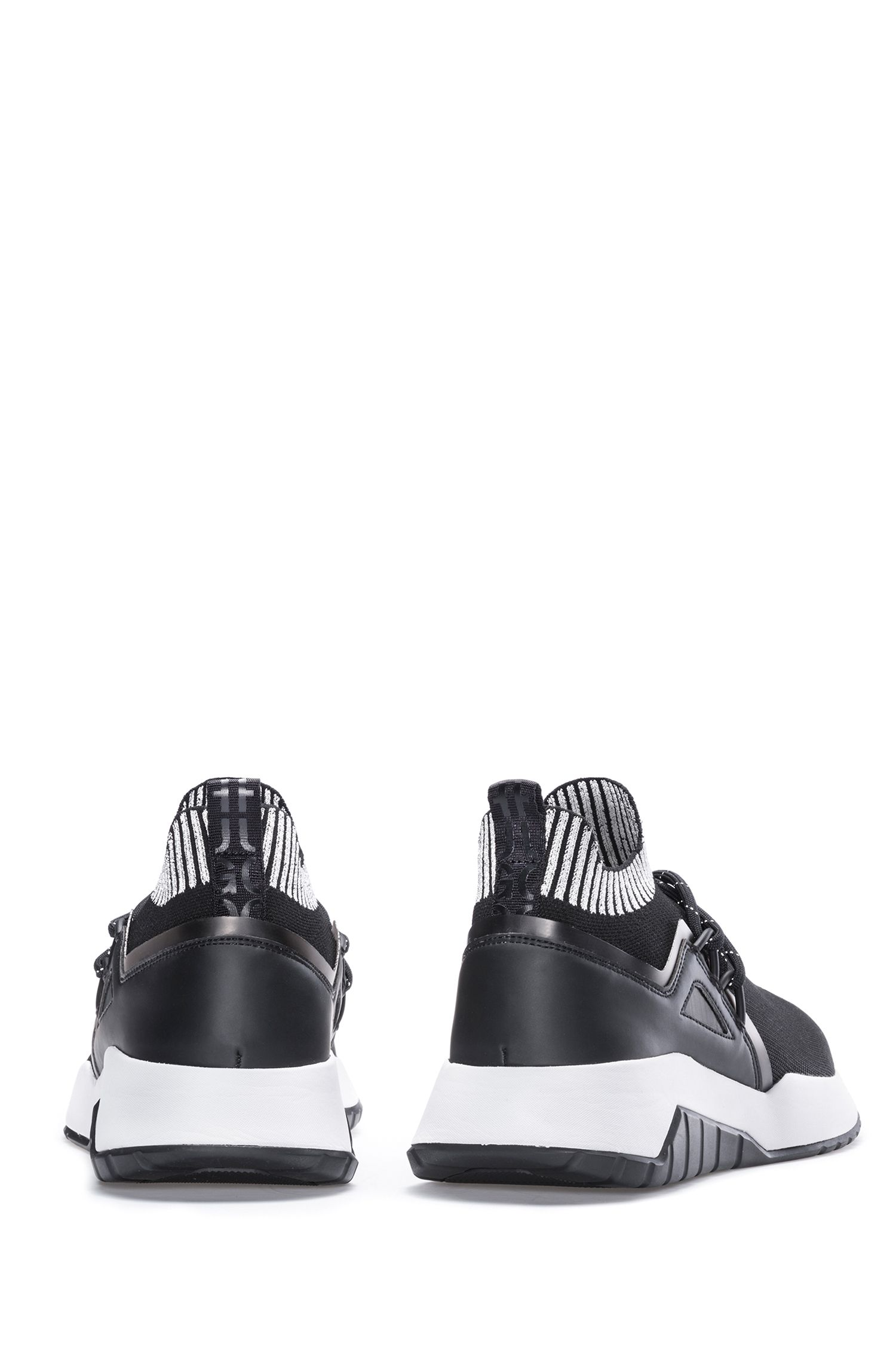 Reflective-logo sneakers with knitted sock, Black