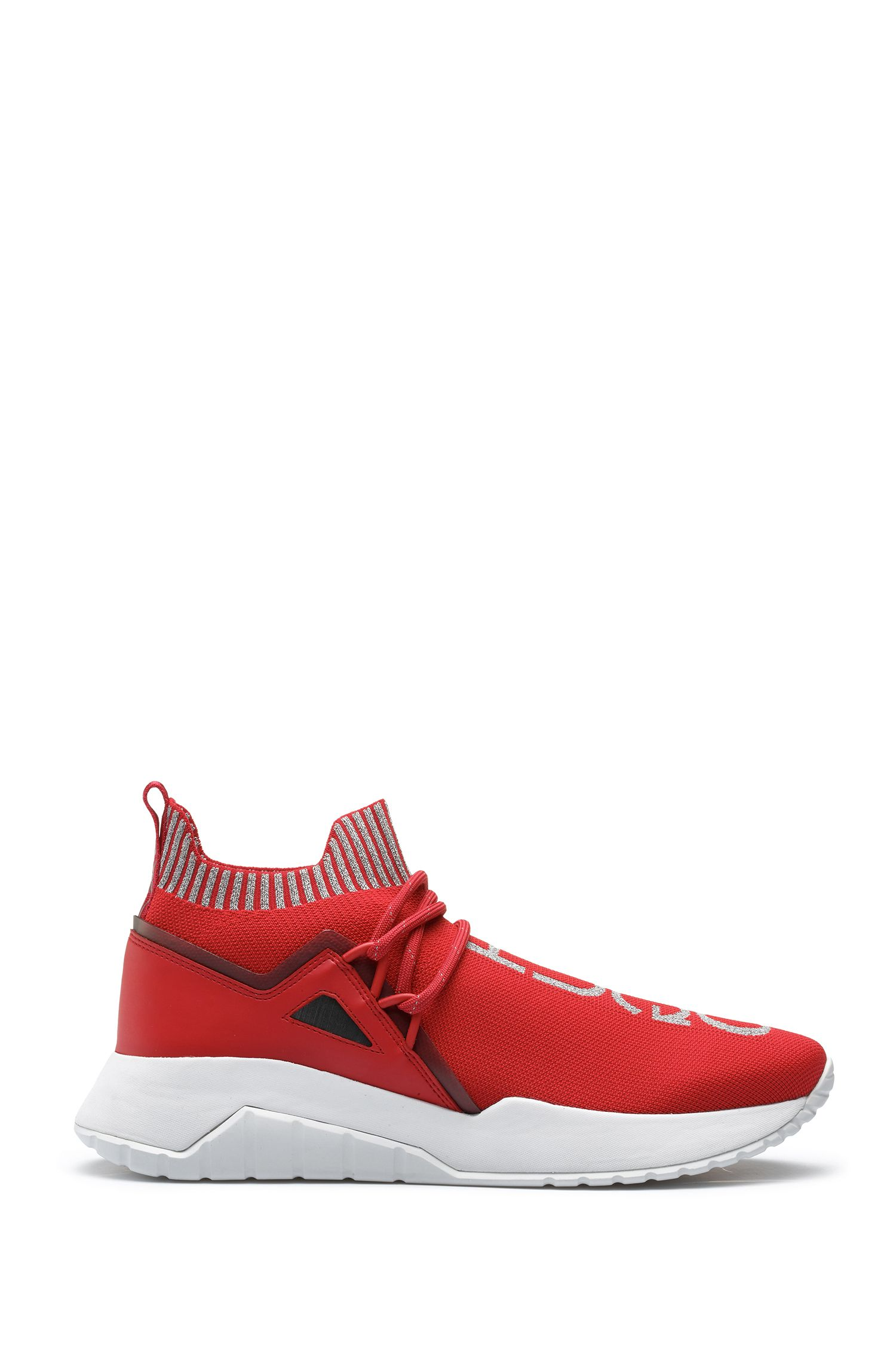 Reflective-logo sneakers with knitted sock, Red