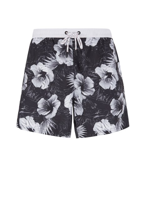 Floral-print swim shorts in quick-dry fabric, Open Grey