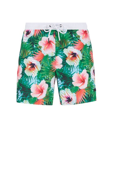 Floral-print swim shorts in quick-dry fabric, Open Green