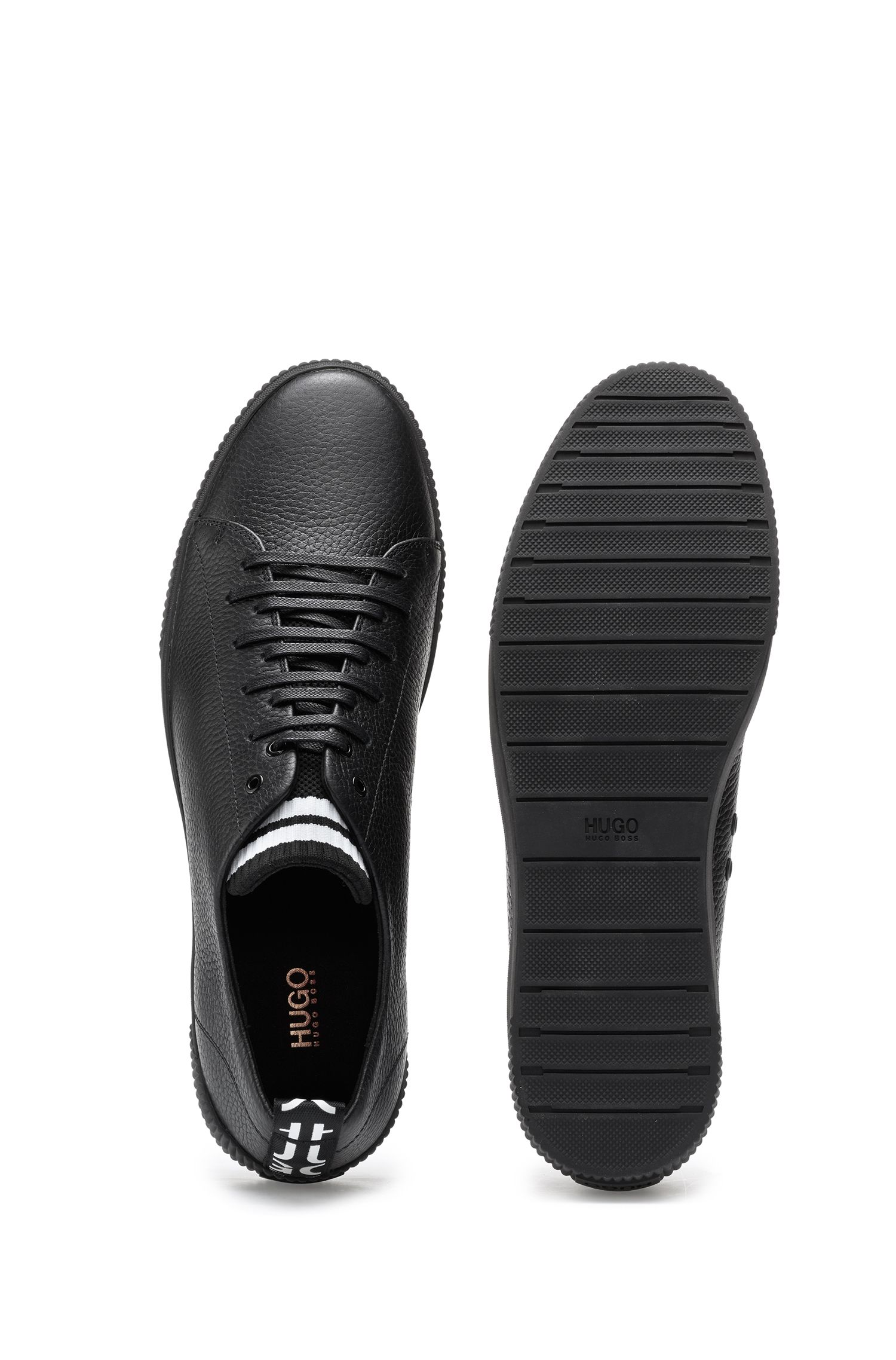 Sneakers in grained leather with original lace-up design, Black