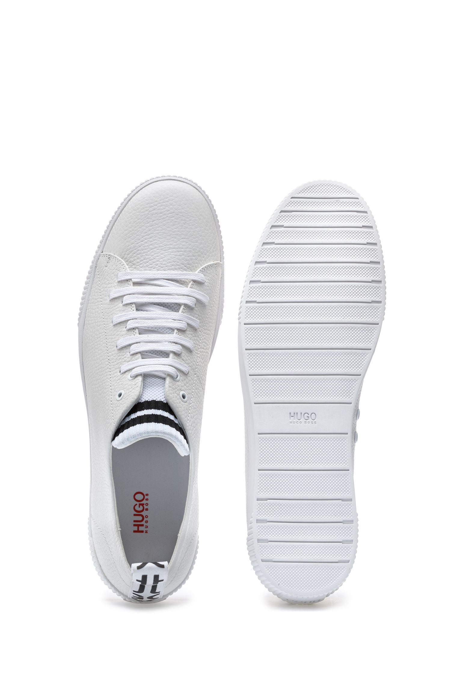 Sneakers in grained leather with original lace-up design, White