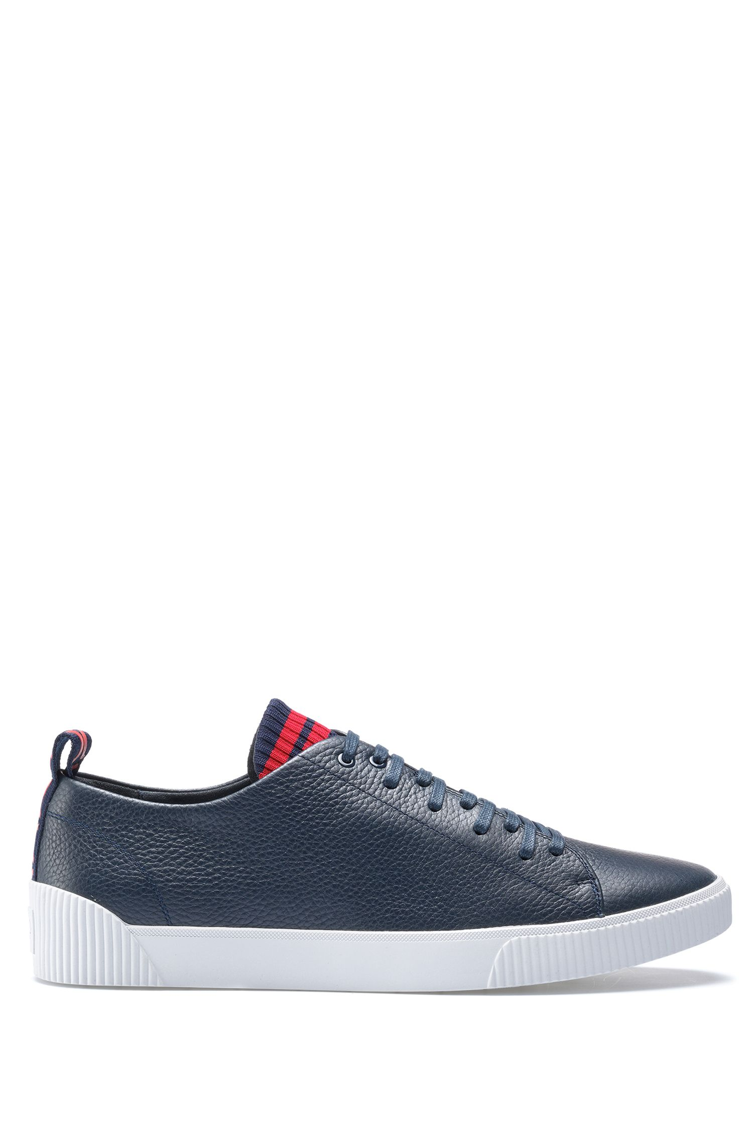 Sneakers in grained leather with original lace-up design, Dark Blue