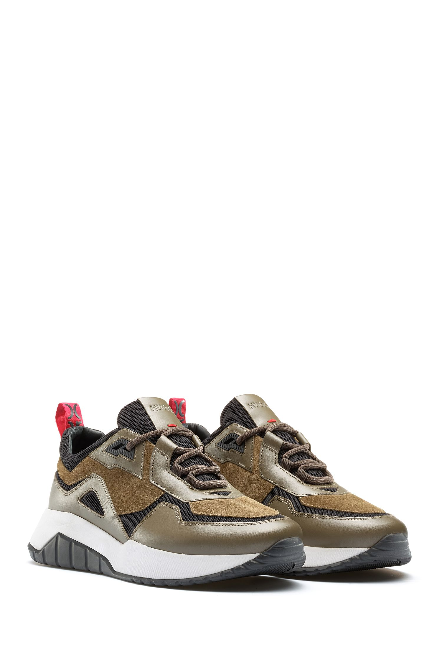 Mixed-material chunky sneakers with logo loop tape, Dark Green