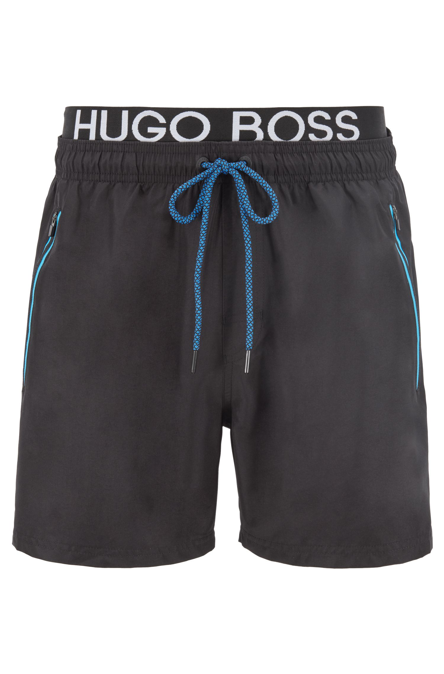 Quick-drying swim shorts with contrast logo waistband, Black