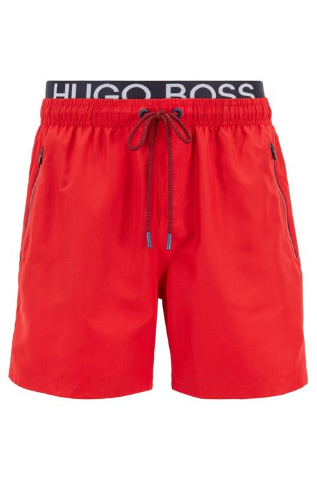 Quick-drying swim shorts with contrast logo waistband, Red