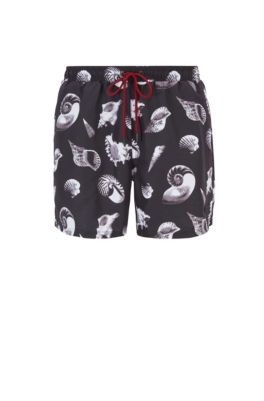 Printed swim shorts in quick-drying fabric, Open Grey