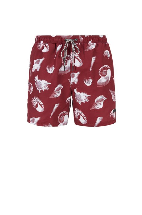 Printed swim shorts in quick-drying fabric, Open Red
