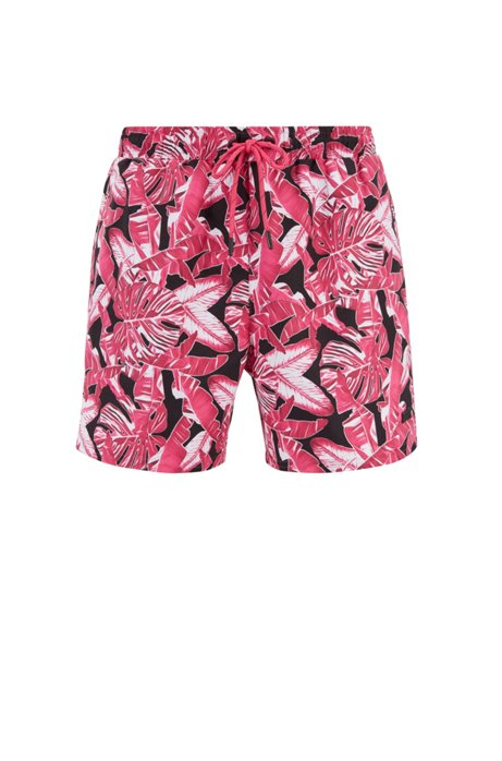 Printed swim shorts in quick-drying fabric, Open Pink