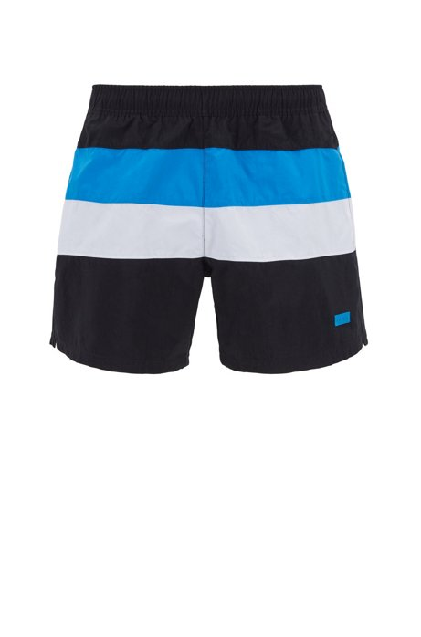 68820085 Color-block swim shorts in brushed quick-dry fabric, Open Grey