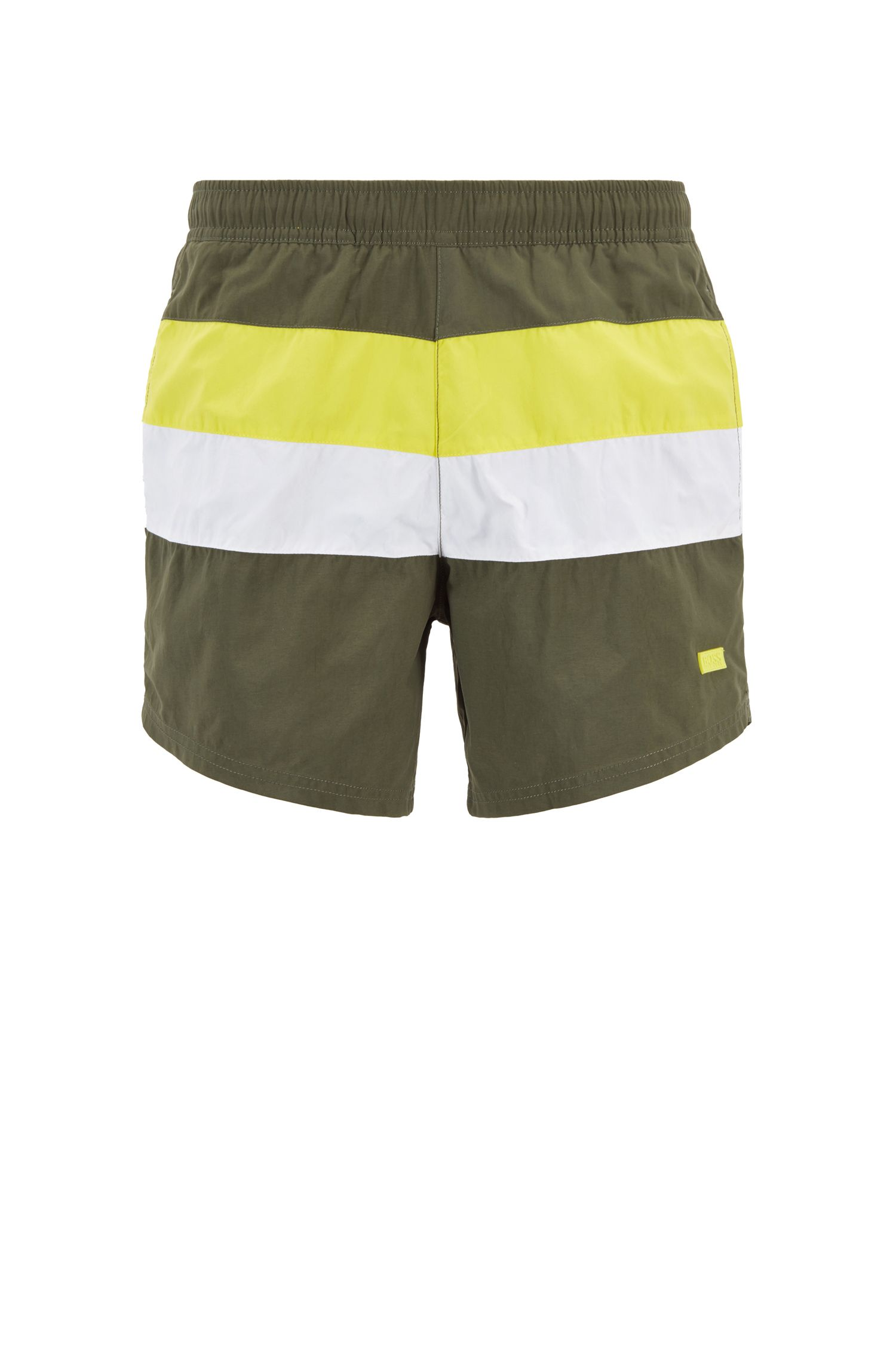 Color-block swim shorts in brushed quick-dry fabric, Open Green
