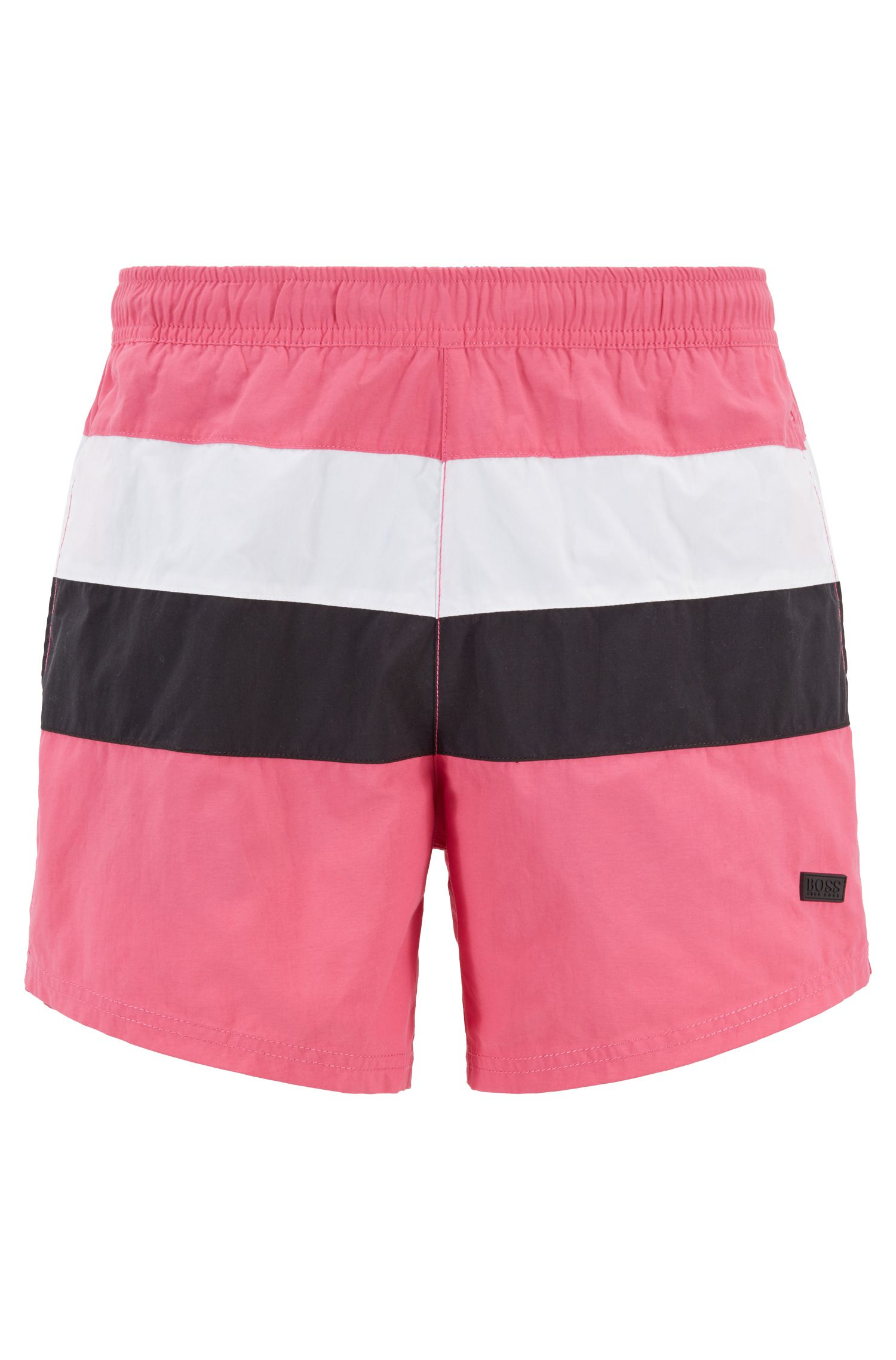 Color-block swim shorts in brushed quick-dry fabric, Open Pink