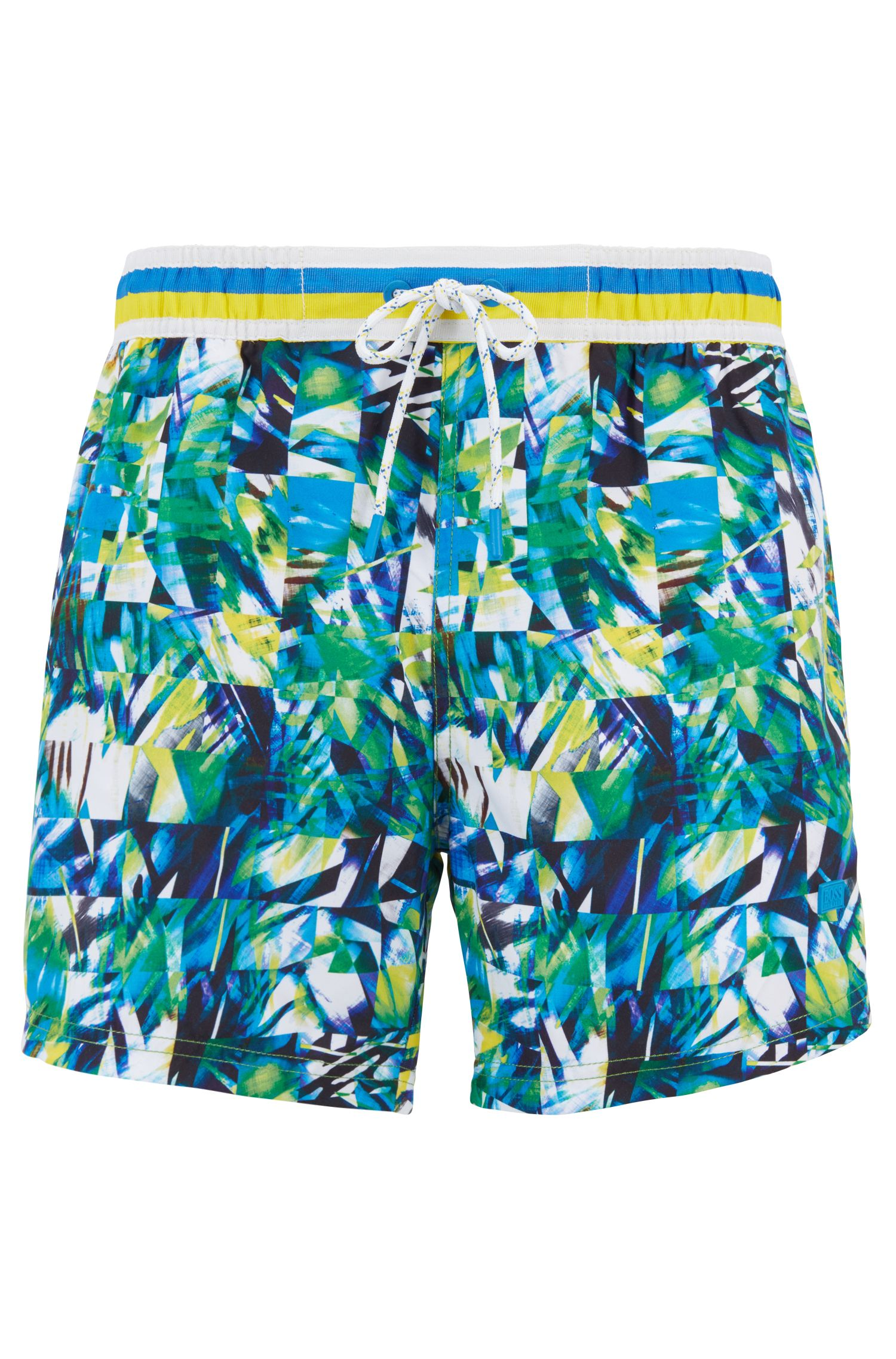 Quick-drying swim shorts with a digital print, Open White