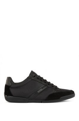 Lace-up hybrid sneakers with moisture-wicking lining, Black