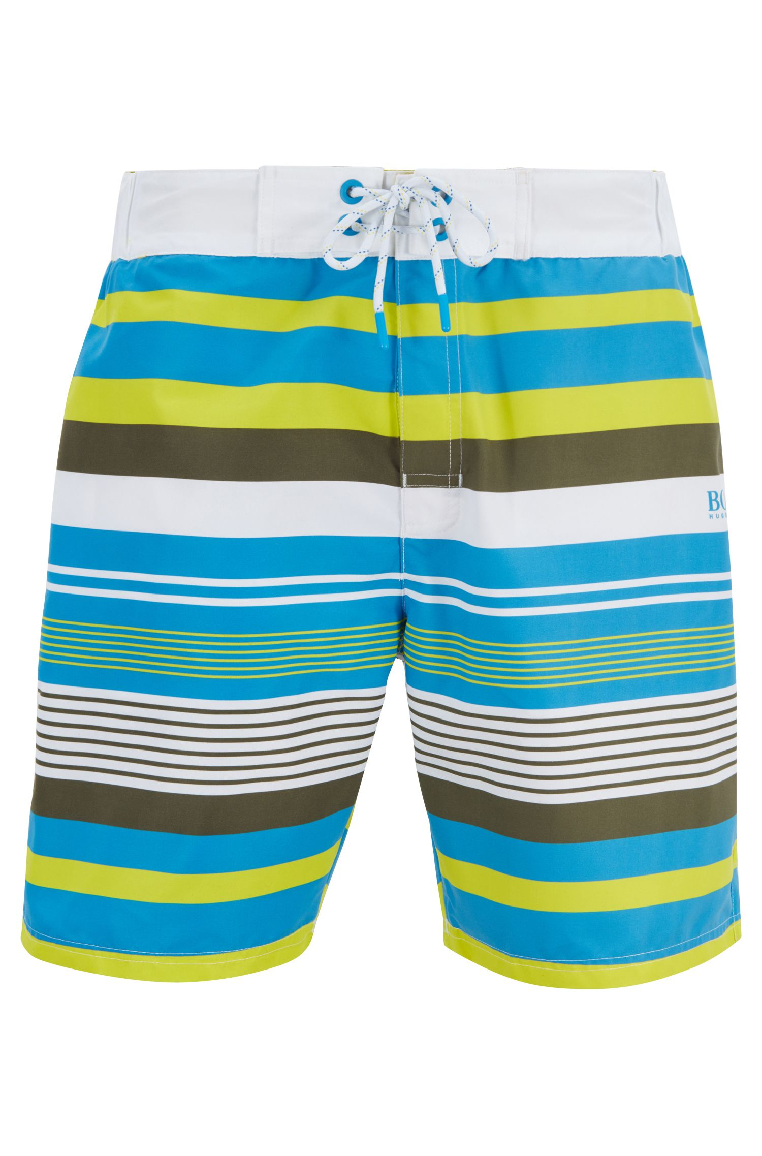 Long-length swim shorts in quick-dry fabric, Open White