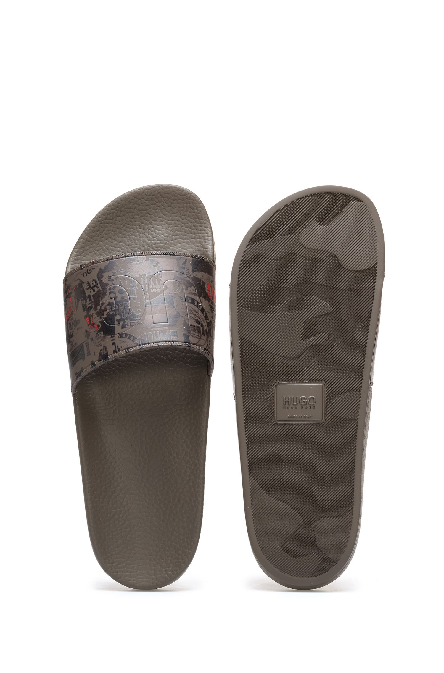 Printed slides with embossed logo, Patterned