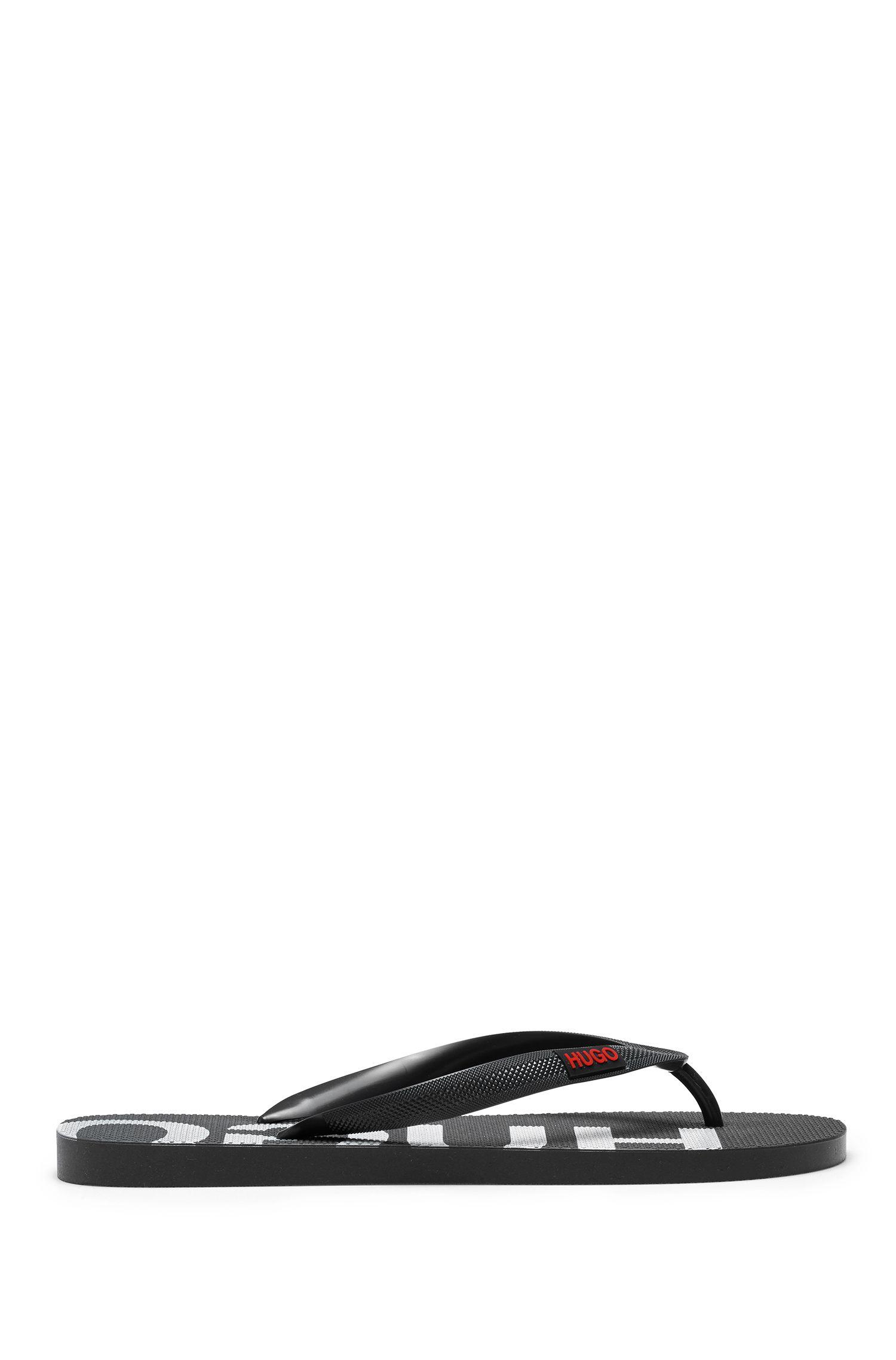 Italian-made flip-flops with logo details, Black
