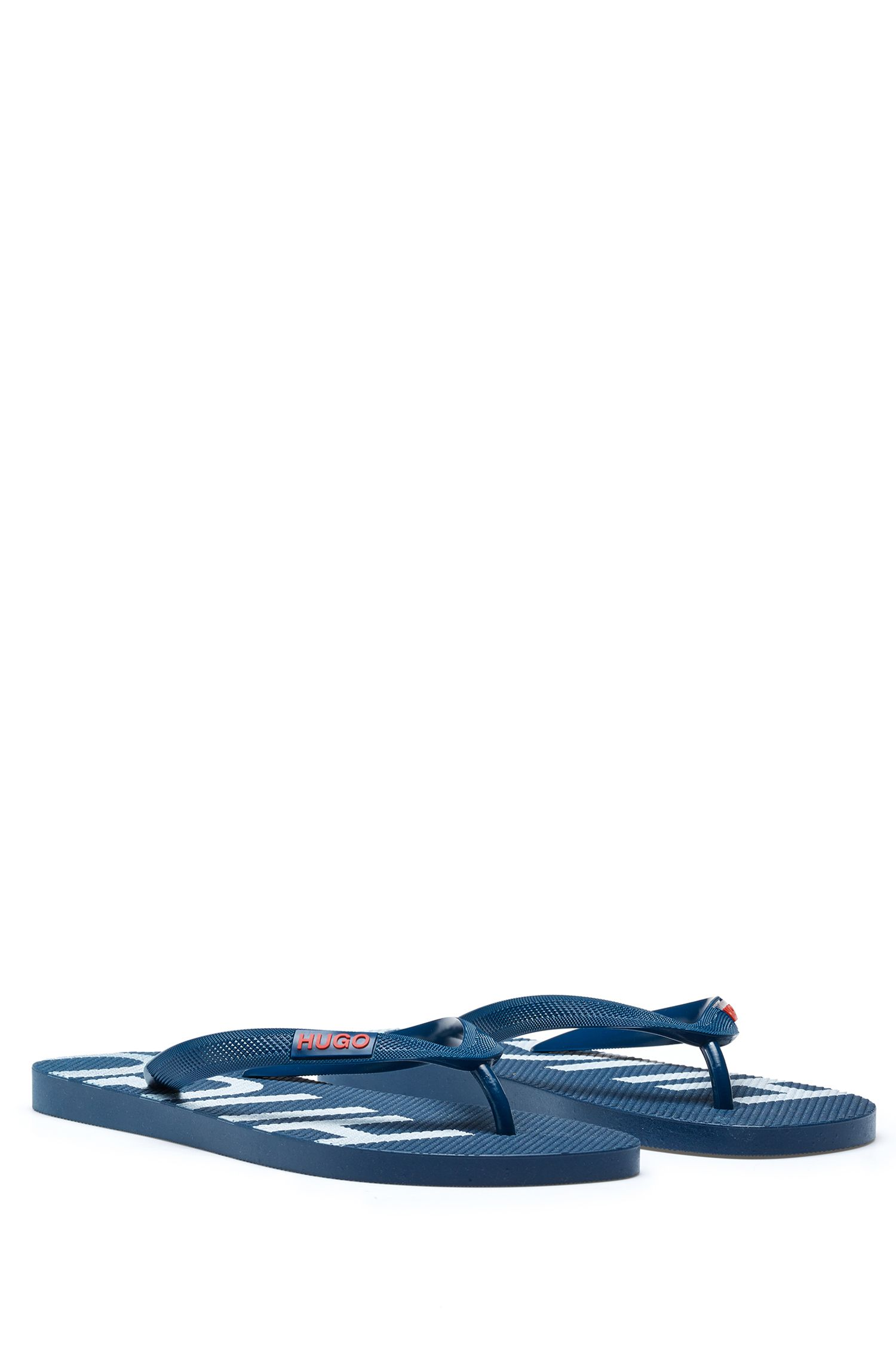 Italian-made flip-flops with logo details, Dark Blue