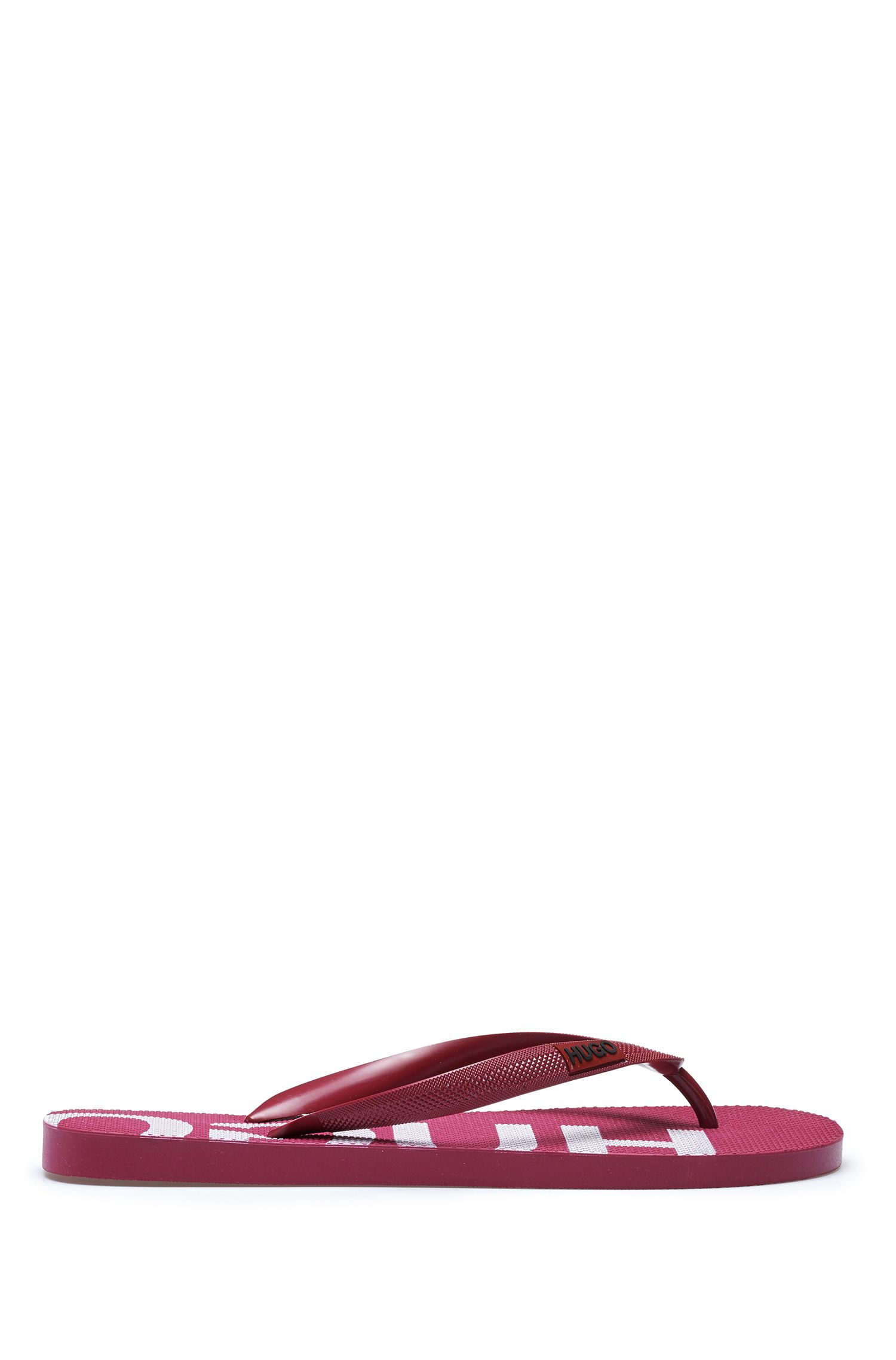 Italian-made flip-flops with logo details, Dark Red
