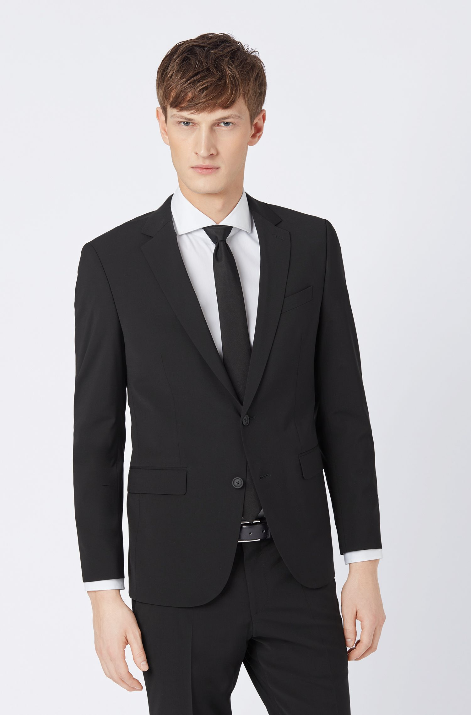 Slim-fit suit in a virgin-wool blend, Black