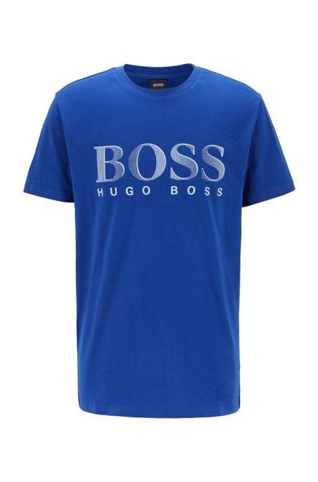 T-shirt Relaxed Fit en coton avec logo et protection anti-UV UPF50+, Bleu