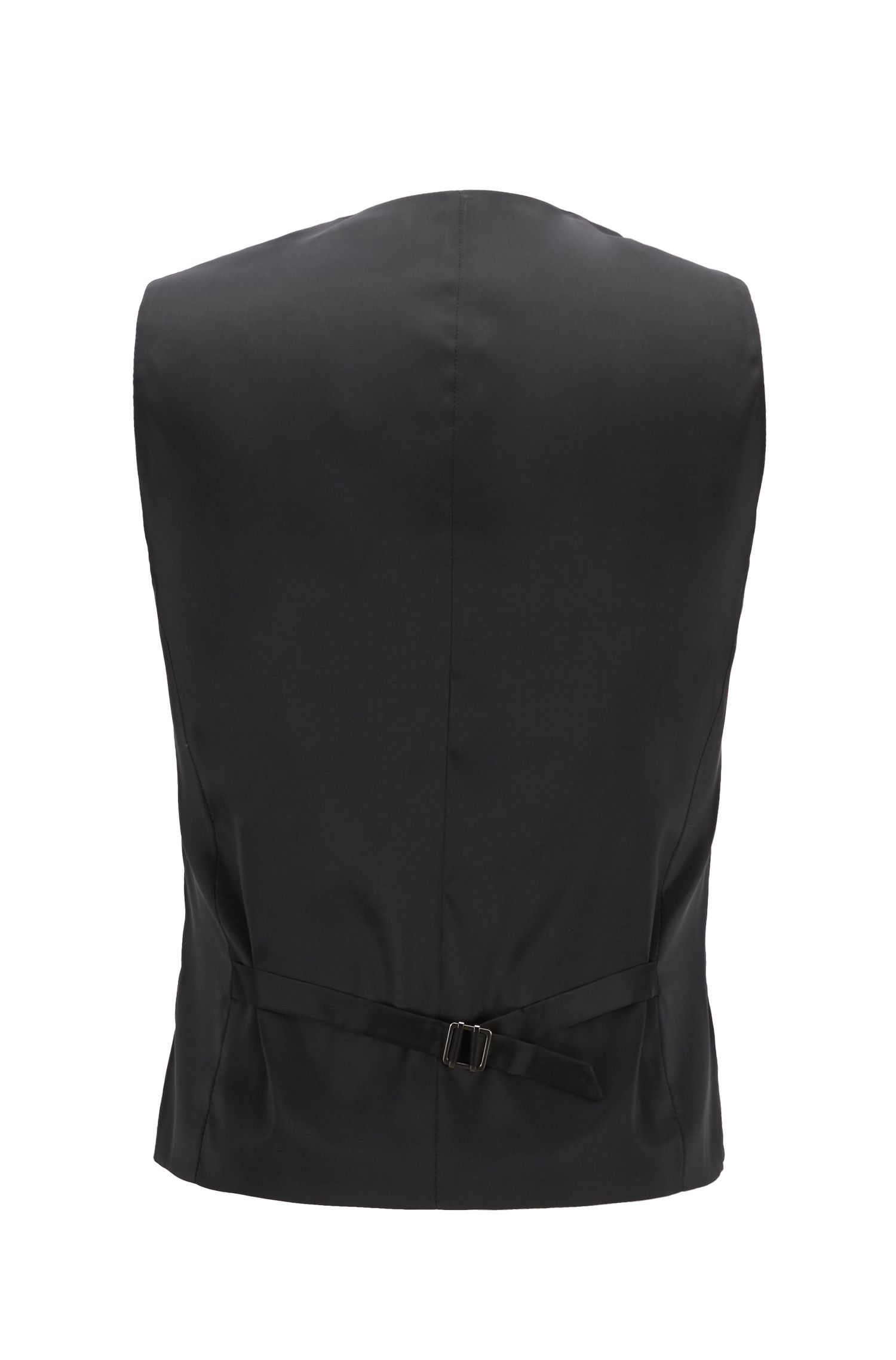 Slim-fit waistcoat in micro-pattern virgin wool, Black