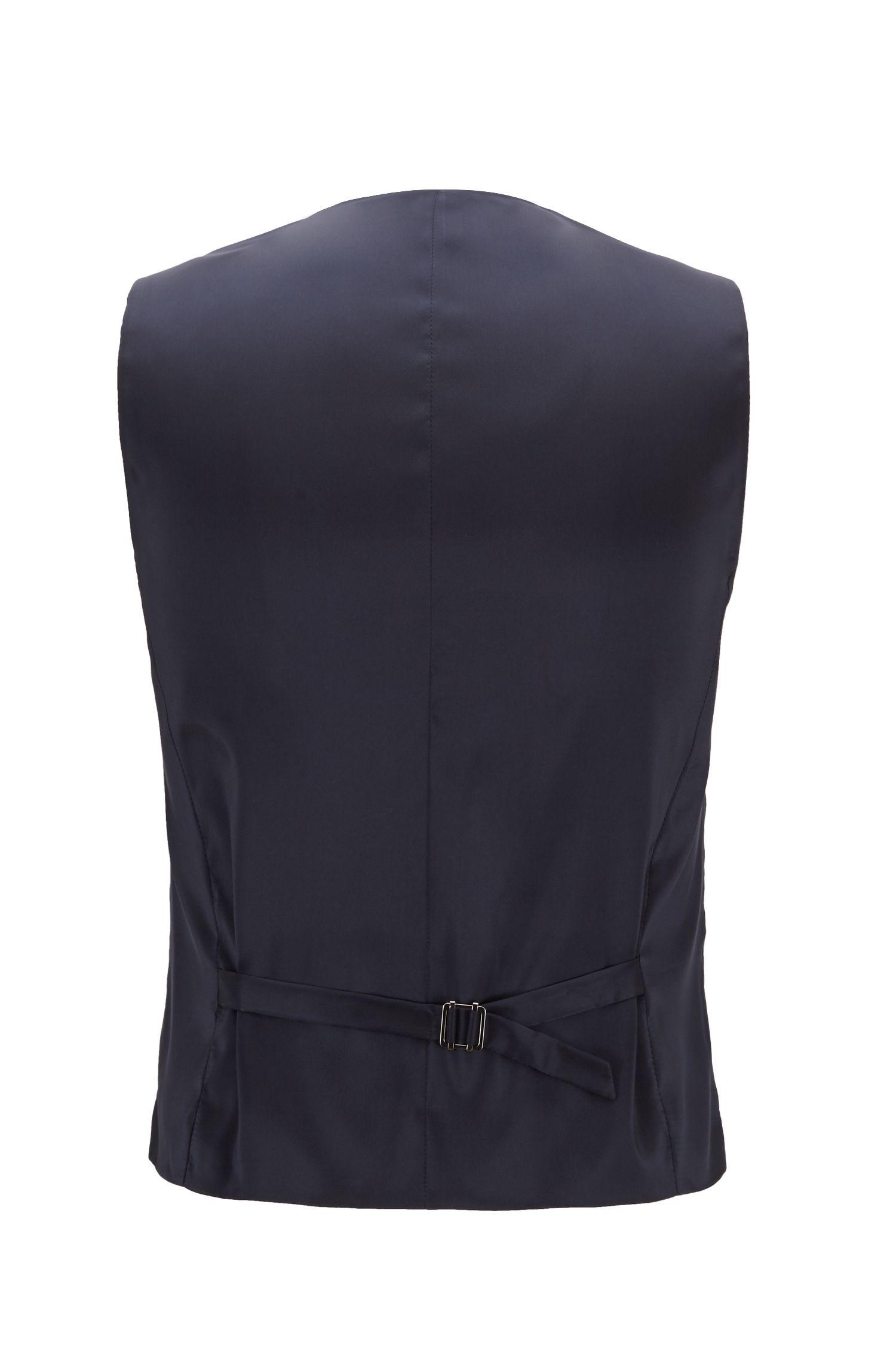 Slim-fit waistcoat in micro-pattern virgin wool, Open Blue