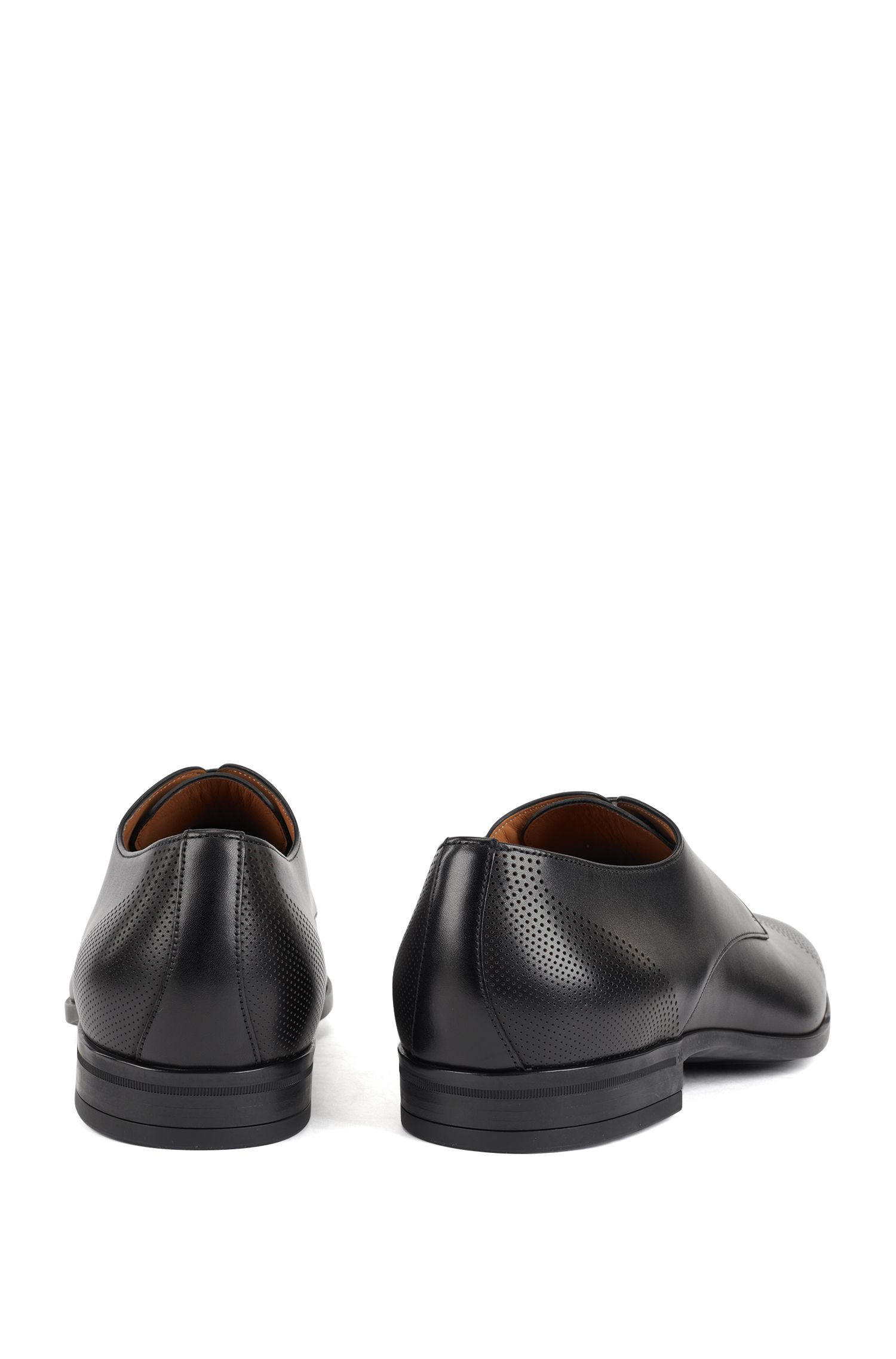 Derby shoes in polished leather with laser-cut details, Black