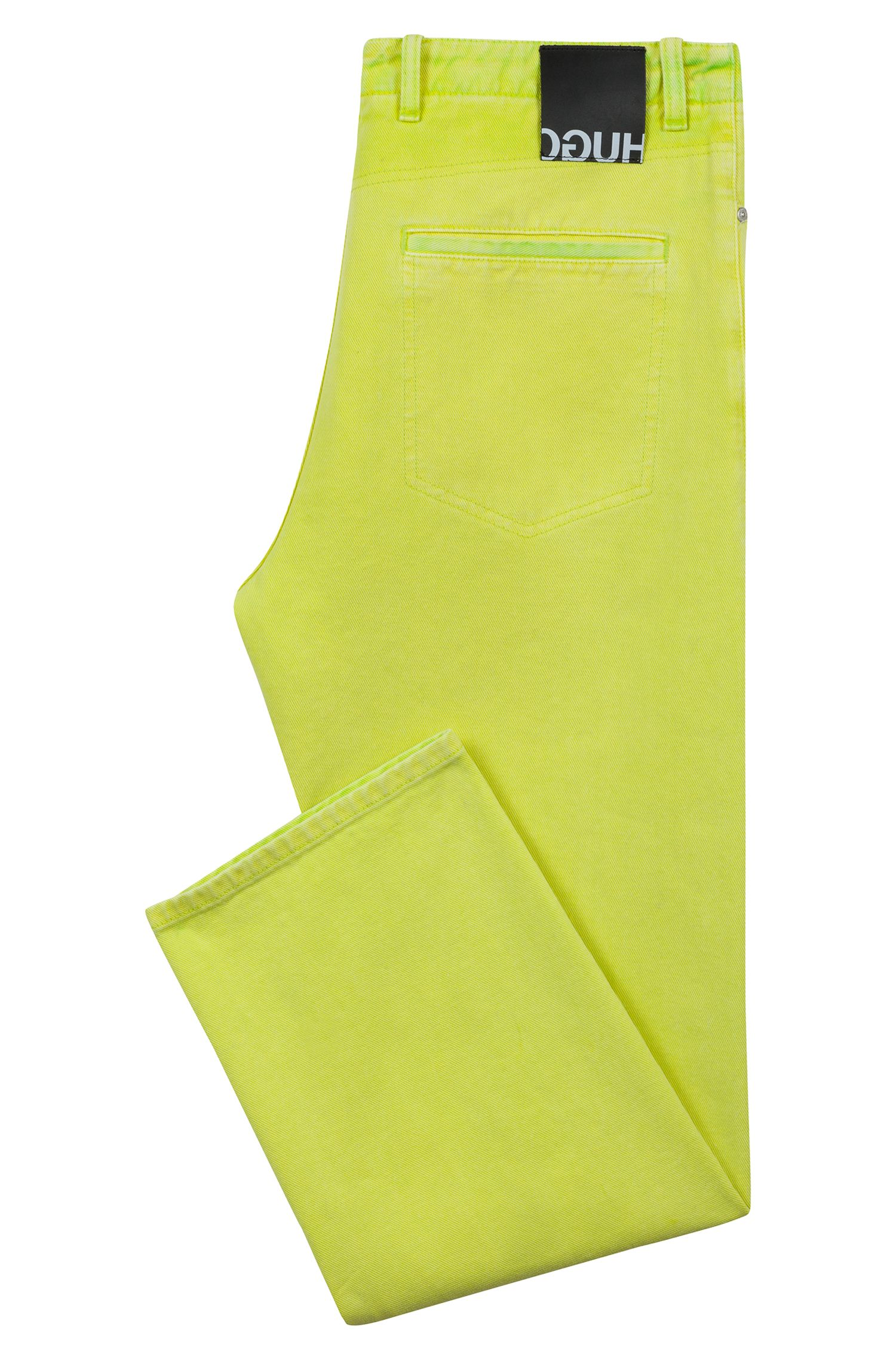 Relaxed-fit jeans in overdyed denim with turn-ups, Yellow