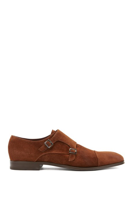 Italian-made monk shoes in nubuck suede, Brown