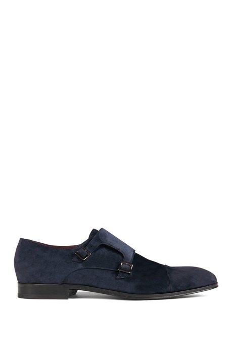 Italian-made monk shoes in nubuck suede, Dark Blue